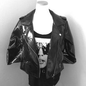 Blank NYC black Patent Motorcycle Jacket